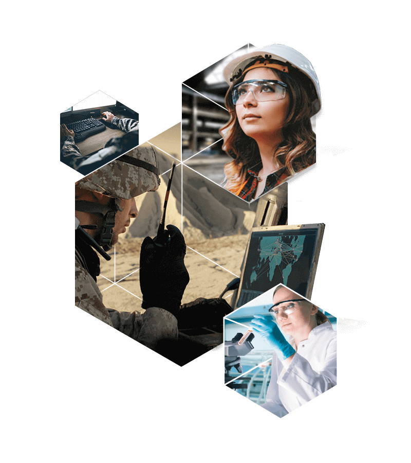 Collage of hexagons with images of construction, health, and military professionals.